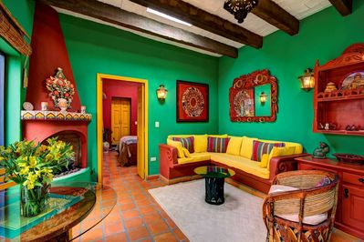 Casita living room with Mexican colors