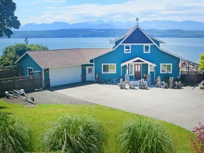 Front view of the house, looking west over the Hood Canal and Olympic Mountains.