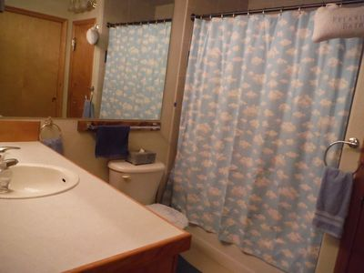 Master has private bath with romantic double shower, vanity, walk-in closet