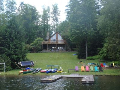 Photo for Lakefront Log Home with large porch, yard, firepit, kayaks/canoes, wifi, DirecTV