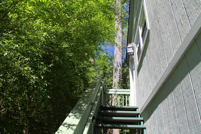 The studio is located on the second floor.