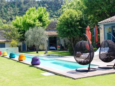 Photo for Old farmhouse character in Medieval town with pool in large garden