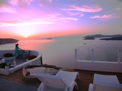 Photo for Unique Private Villa On Caldera Cliffs with an Exceptional Sunset View