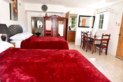 Interior has air con, kitchen, bathroom with cable tv, free wifi music system