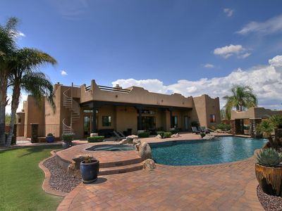 Photo for WOW! Lavish Family Desert Oasis w/ HUGE Pool, outdoor fire pit, bocce court!