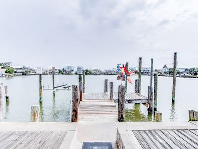Photo for Bayfront home w/ private dock, deck & sleeper porch - dog-friendly!