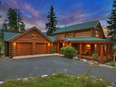 Photo for Gorgeous award-winning log home with 4 en-suites overlooking Swan Mountain and Baldy Peak.