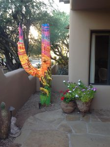 Painted saguaro at front door entry