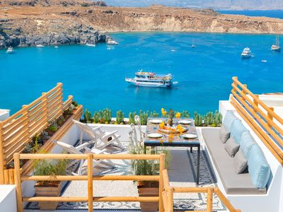 Photo for Luxury New villa just above Lindos main beach with sea view and outdoor jacuzzi