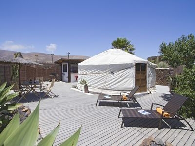 Photo for Stunning Eco Yurt, private Garden, Pool, 300m Sandy Beach, Off-grid, incl Car