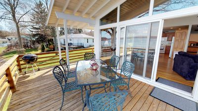 Refreshing view of upper level deck, perfect for outdoor entertaining.