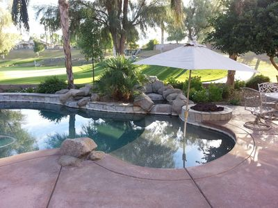 Gas Firepit, Waterfall, BBQ grill and plenty of great days and nights poolside