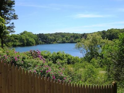 The view of Skinequit Pond, a .5 acre kettle pond has heron, osprey, painted and box turtles, and plenty of fish. One corner of it features a herring run. - 5 Ocean Street South Harwich Cape Cod New England Vacation Rentals