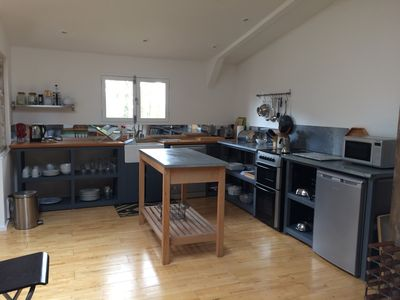 Well equipped kitchen with view on to meadow