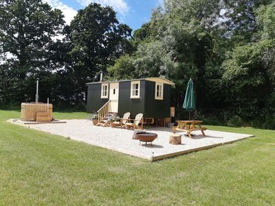 Photo for Beautiful shepherd's hut, with hot tub, in an idyllic and tranquil location