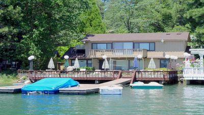 Photo for 3-bedroom waterfront home has large yard, private boat dock