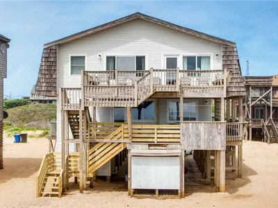 Photo for Great Lighthouse Views! Oceanfront Buxton w/ Hot Tub, Game Room, Steps to Beach!