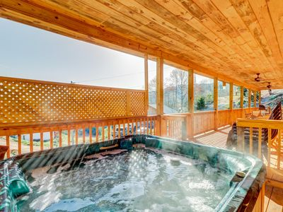Photo for Mountain lodge home with private hot tub & covered porch!