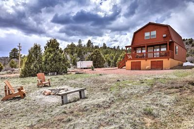 The cabin is on 10 peaceful acres, with a fire pit for your enjoyment.