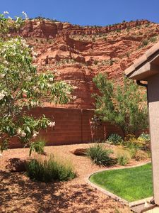 Backyard view of red cliffs