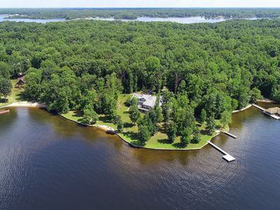 Photo for Gorgeous lakefront home w/ multiple fireplaces, game room, theater & beach!