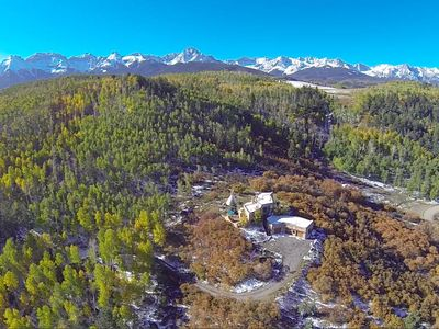 Bird's eye view shows the picturesque Sneffels Range as a backdrop to property.