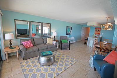 Stylish & fun living room that is huge, double the size of most 2br oceanfronts!
