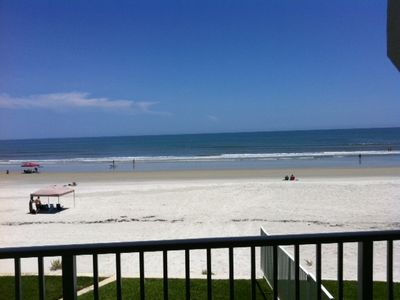 View of beach from condo balcony--don't you wish you were already here!