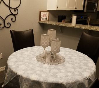 Breakfast table decorated for the holidays