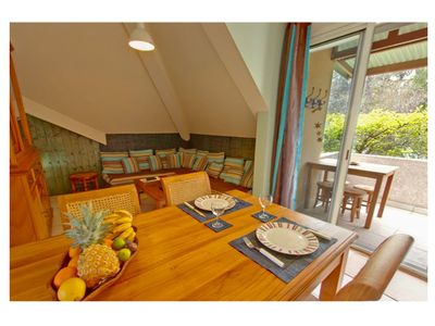 Photo for Le Guétali ****, Beau F3 upstairs, sea view, reserved garden area, pool & spa