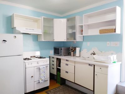 Fully stocked kitchen with eating utensils, pots and pans, coffee press etc.etc.