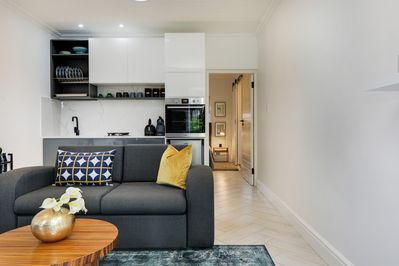 Lounge (double sofa bed) & kitchen
