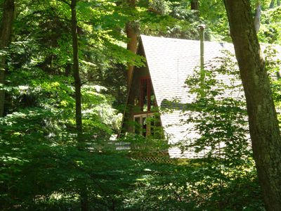 Photo for A-Frame cottage in the woods with private Lake Michigan beach access