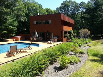 Photo for Contemporary Redwood with large pool and hot tub in a very secluded setting.