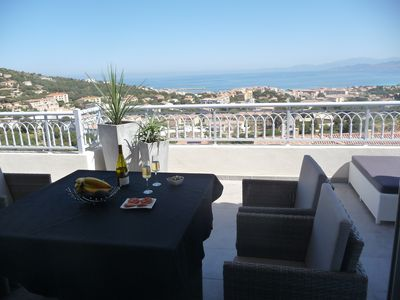 Photo for T2 of 56m2, 4 person, new, contemporary, 26m2 terrace, full sea view.