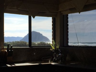 View of Morro Rock and ocean from the Kitchen Sink