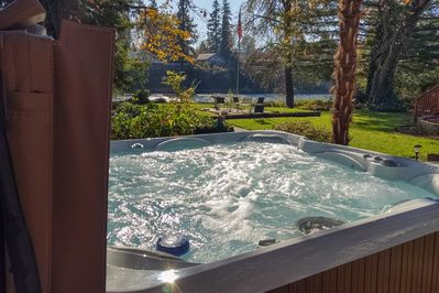 Sink into the hot tub and relax.