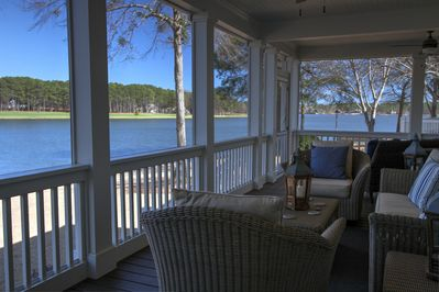 Screened Porch Offers Panoramic Lake and Golf Views