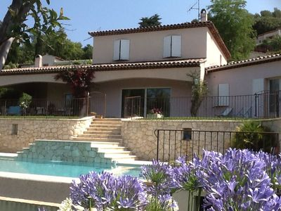 Photo for Apartment in villa in Vence, garden, beautiful pool, panoramic view