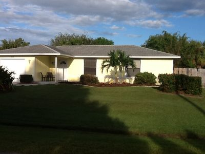 Front street view of our home, every home in Florida needs a palm tree!