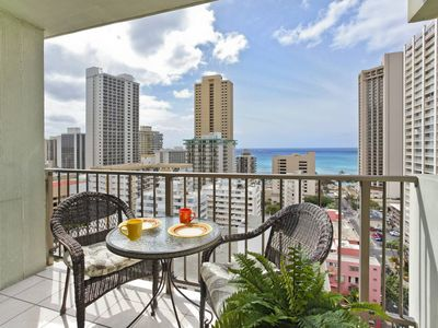 Photo for Relaxing Ocean Views and central A/C; 5-10 min. walk to beach. Sleeps 4.