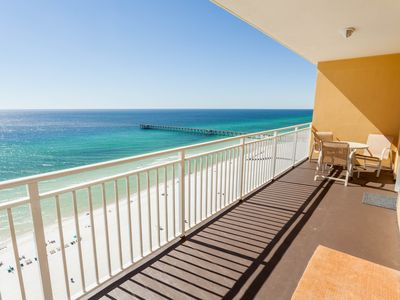 Photo for Sunny getaway at the beach w/ a furnished balcony, shared pool, & fitness room