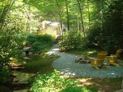 Photo for Monkey Business -  Romantic getaway cabin with Hot Tub & Koi Pond