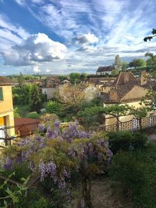 Photo for Heart of medieval beau village Belves- townhouse with terrace and garden.