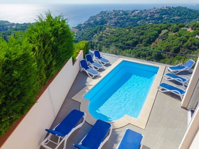 Photo for Club Villamar - A beautiful modern villa with private pool and free Wi-Fi, with a view of the sea...