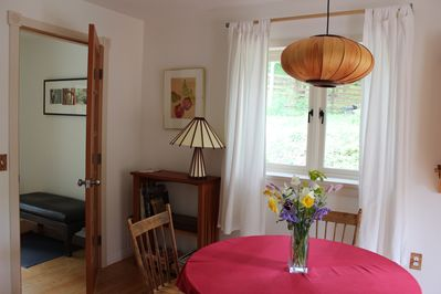 Entrance vestibule and dining table