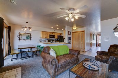 Main Living Space - Open floor design is spacious and cozy with plenty of seating , fire place, wifi and Tv.