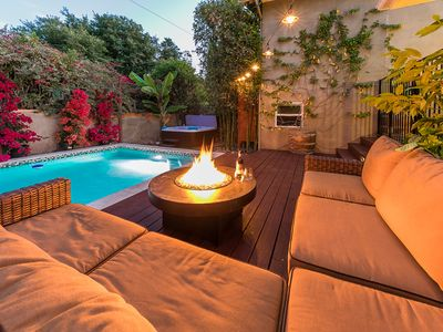 private backyard with heated pool and hot tub firepit bbq and outdoor seating - Outdoor Backyard Pools
