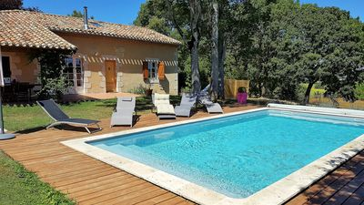 Photo for Gite any comfort, swimming pool 8x4m, wifi, trampoline 4m, lake, superb view.