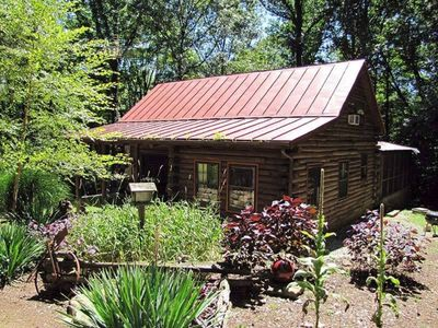 Photo for A real log cabin nestled in a piney woods!